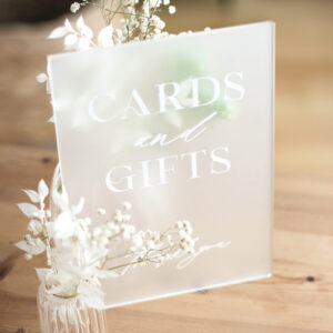 Acrylschild milchig   Cards and Gifts